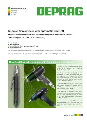 D 3571 Impulse Screwdriver with automatic shut-off