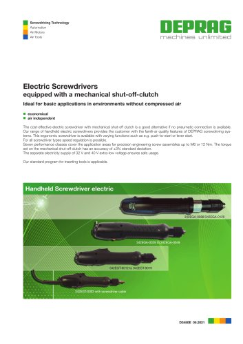 Electric Screwdrivers equipped with a mechanical shut-off-clutch