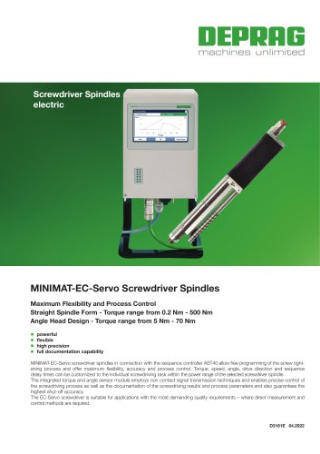 MINIMAT-EC-Servo Screwdriver Spindles Torque range from 0.2Nm - 500Nm