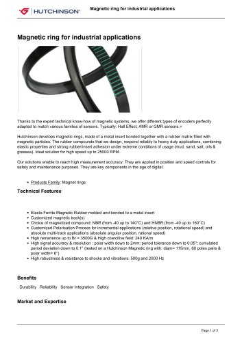 Magnetic ring for industrial applications