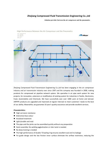 AIRPIPE Aluminium piping network/compressir air piping/pressure reducer/energy saving