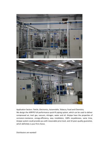 Aluminum piping network system/for compressed air/ fast installation/energy saving