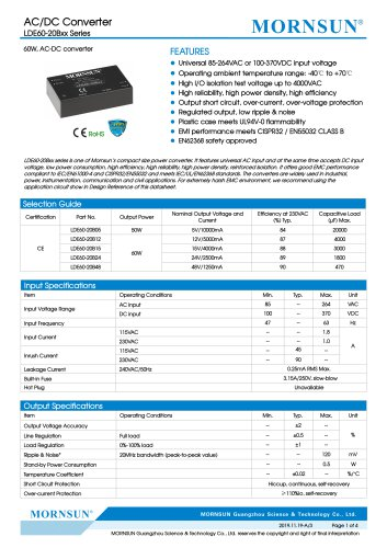 60W, AC-DC converter LDE60-20Bxx Series
