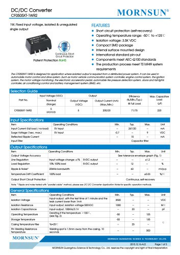 CF0505XT-1WR2 / 1watt DC-DC converter / automotive industry
