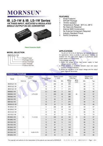 IB_LS-1W / 1watt DC-DC converter / Single output