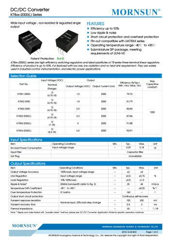 K78xx-2000(L) / DC-DC converter / 2000mA current output / non-isolated