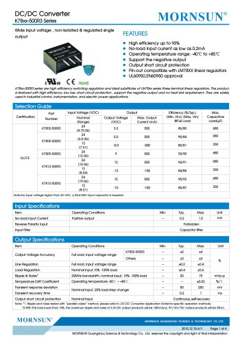 K78xx-500R3 / DC-DC converter / 500mA current output / non-isolated / modular / low cost / high efficiency