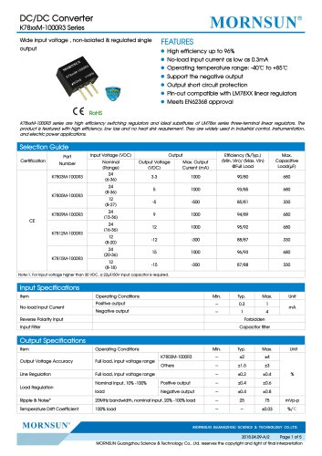 K78xxM-1000R3 Series--Wide input voltage , non-isolated & regulated single output
