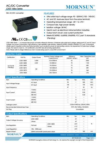 LD03-16Bxx Series 3W, AC/DC converter