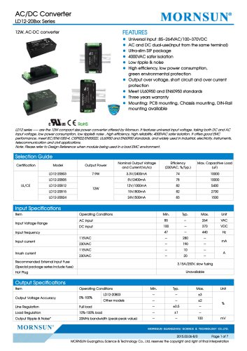 LD12 / 12watt AC/DC power supply / Medical