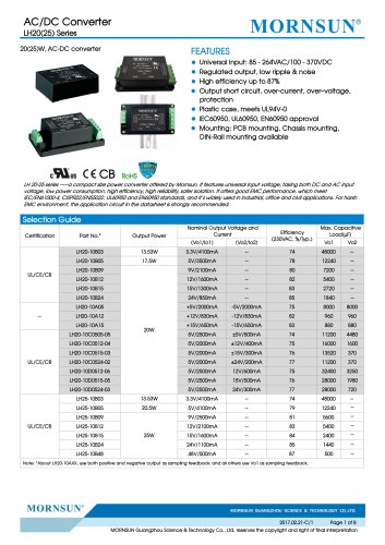 LH20-25-- Meeting IEC/EN61000-4, CISPR22/EN55022, UL60950 and EN60950 standards