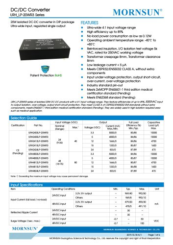 Medical Wide Input DCDC Converter URH_LP-20WR3