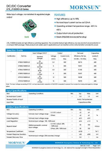 MORNSN DC/DC switching regulator K78xxJT-500R3-LB