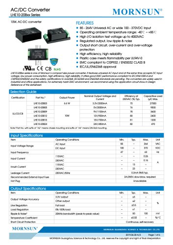 MORNSUN 10W 85-264VAC input AC/DC Converter LHE10-20Bxx