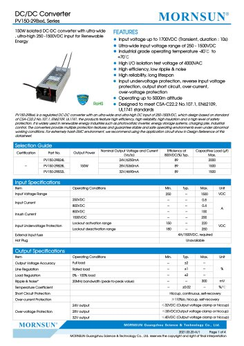 MORNSUN 150W  250 -1500VDC input DC-DC converter PV150-29BxxL