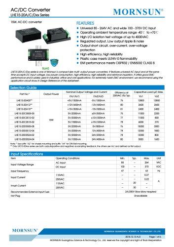 MORNSUN 15W 85-264VAC input dual outputs AC/DC Converter LHE15-20Axx