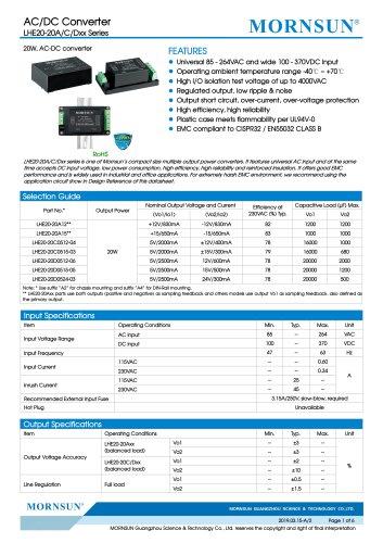 MORNSUN 20W 85-264VAC input dual outputs AC/DC Converter LHE20-20Axx
