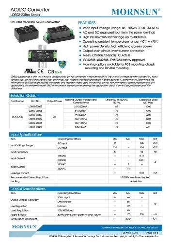 MORNSUN 2W compact 85-305VAC wide input AC/DC converter LDE02-23BXX