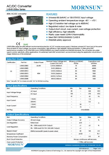 MORNSUN 40W 85-264VAC input AC/DC Converter LHE40-20Bxx