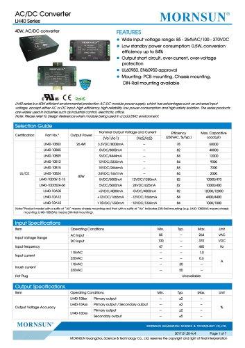 MORNSUN 40W 85-264VAC input dual outputs AC/DC Converter LH40-10 Series