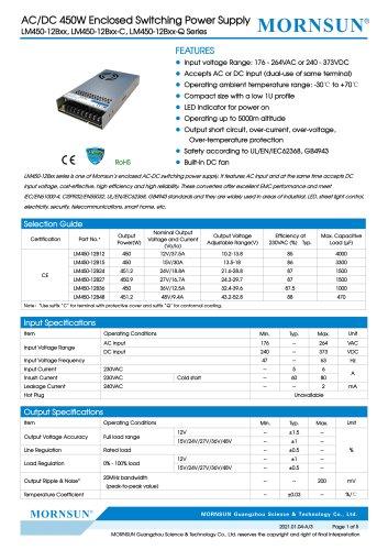MORNSUN 450W AC/DC Enclosed SMPS LM450-12Bxx