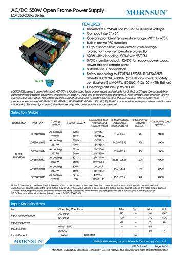MORNSUN 550W AC/DC Enclosed Switching Power Supply LOF550-20Bxx