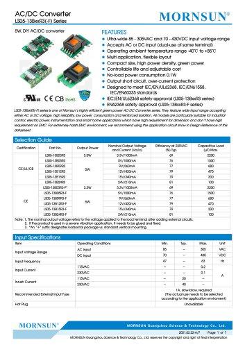 MORNSUN 5W SIP AC DC converter LS05-13BxxR3-Flexible design for all-rounder applications