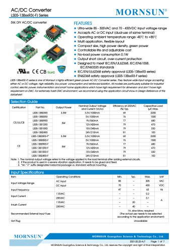 MORNSUN compact 5W AC DC converter LS05-13BxxR3-Flexible design for all-rounder applications