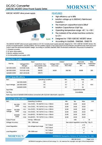 MORNSUN DC DC converter QAxx3D-2GR3 for IGBT Driver
