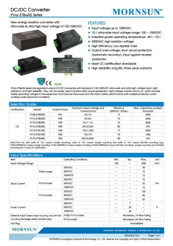 PVxx-27BxxR2 / 10:1 / 100~1000Vdc input / dc dc converter / photovoltaic power / 5, 10, 15 watt