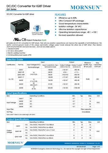 QA / DC DC converter for IGBT driver