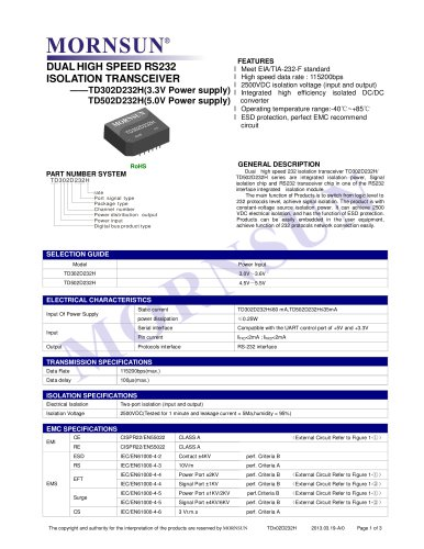 TDx01D232H / SINGLE HIGH SPEED / ISOLATION TRANSCEIVER / DC-DC  converter / 0~115.2Kbps