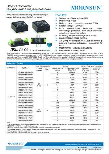 "URA_YMD-10WR3 / 4:1 / 1""*1"" / 10 watt dc dc converter"