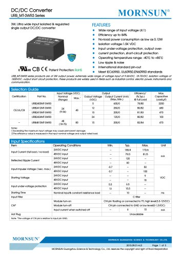 URB_MT-3WR3 / 4:1 / 3watt DC-DC converter / Single output