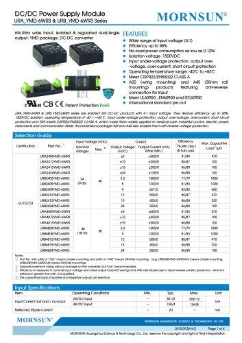 "URB_YMD-6WR3 / 4:1 / 1""*1"" /6 watt / dc dc converter"