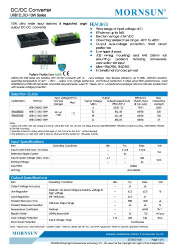 URB1D_XD-10W / 10watt / (4:1) 40~160vdc input / 1500vdc isolation / railway application / single output / DIP / DIN-Rail / chassis