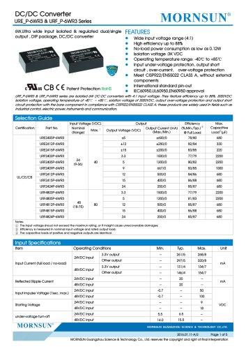 URE_P-6WR3 / 4:1 / 6 watt / dc dc converter