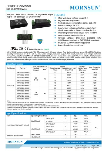URF_LP-20WR3 / 4:1 / 20 watt / dc dc converter / 3000Vdc isolation