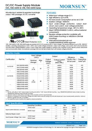"VRA_YMD-6WR3 / 2:1 / 1""*1"" /6 watt dc dc converter"