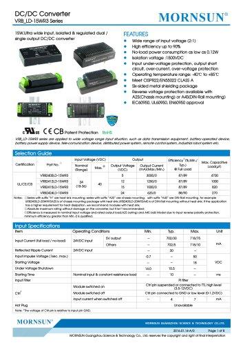 VRB_LD-15WR3 / 2:1 / 15 watt / dc dc converter