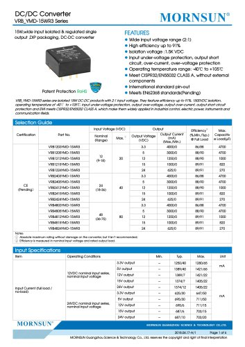 VRB_YMD-15WR3 series are isolated 15W DC-DC products with 2:1 input voltage