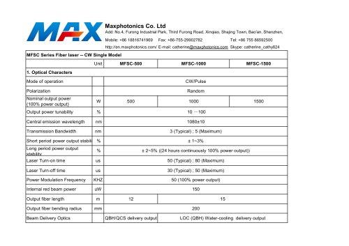 500w 1000w 1500w Fiber Laser Specification