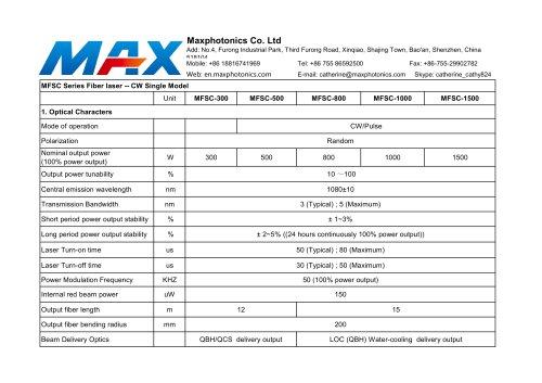 CW 300W~1500W Fiber Laser Source for Metal Cutting