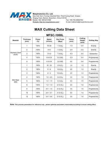 MAX 1KW Laser Cutting Data Sheet