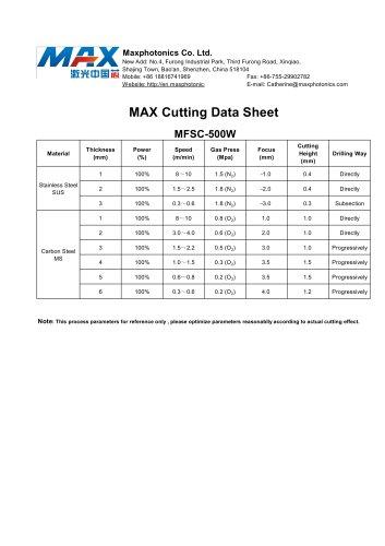MAX 500W (MFSC-500) Cutting Data Sheet