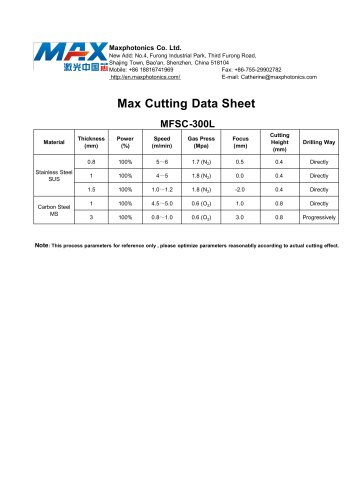 MAX CW 300W Cutting Data (s.s. & m.s.)