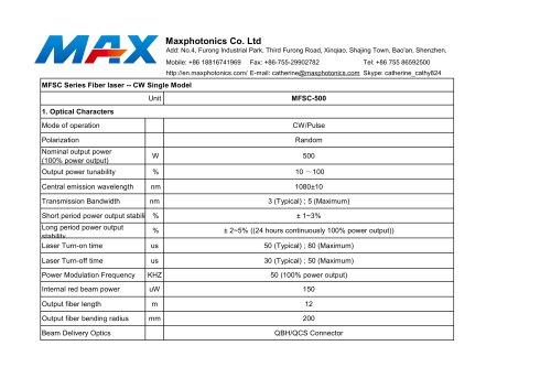 MAX CW 500W LASER GENERATOR MFSC-500