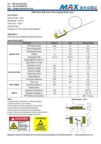 Maxphotonics20W915nmfibercoupledSemiconductorlasermodule