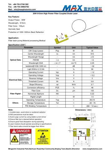 Maxphotonics 30W 915nm fiber coupled Semiconductor laser module