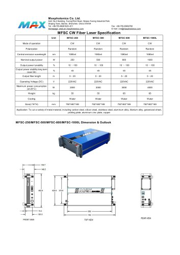 Maxphotonics CW Fiber Laser MFSC-250W Laser Cutting Specification